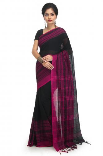 WoodenTant Women's Pure Cotton Begampuri Saree In Black
